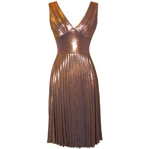 Pleated Metallic Stretch Holiday Party Cheap Cocktail Prom Dress JR Plus Size