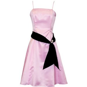 50's Style Satin Prom Gown Holiday Party Cheap Cocktail Bridesmaid Dress with Black Sash