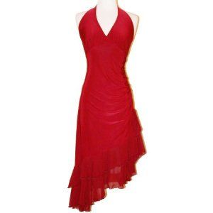 Ruched Ruffle Holiday Party Cheap Cocktail Halter Dress