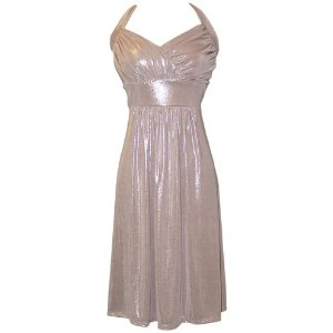 Gold Metallic Cheap Cocktail Halter Party Dress Holiday Gown Prom  JR Plus Size