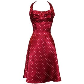 50's Rockabilly Satin Dot Halter Holiday 