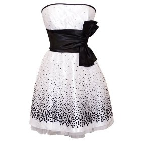 Flocked Polka Dot Strapless Net Holiday Party 