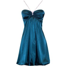 Satin Crystal Halter Bubble Mini Dress Prom 