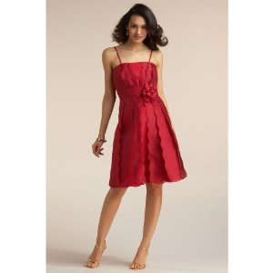 Chadwicks Vertical Tiered Flower Womens Cocktail Dress