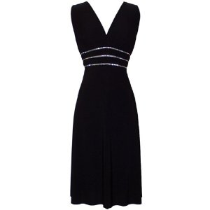 Plus SizeWomens Cocktail Dresses Black Crystals JR