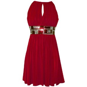 Womens Cocktail Dresses - Stretch Jersey Knee-length Holiday Party Cocktail Dress Sequin Trim