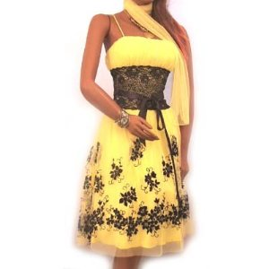 Lace Yellow Cocktail Dress by Ynes