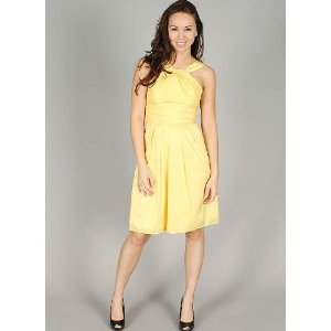 Pleated Detail Yellow Cocktail Length Formal Dress for Bridesmaid Formal Prom