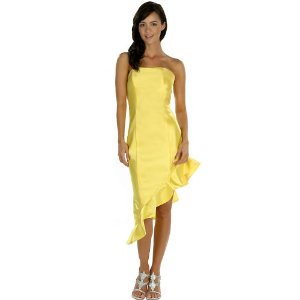 Yellow Strapless Cocktail Dress by Odette Christaine